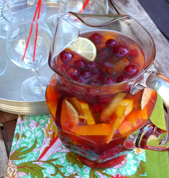 Cherry Orange Sangria a pitcher full