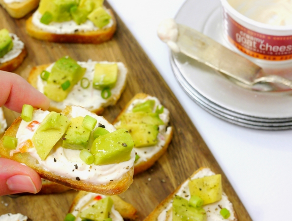 Creamy Roasted Red Pepper Goat Cheese and Avocado Crostini  from Noble Pig yum