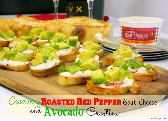 Creamy Roasted Red Pepper Goat Cheese and Avocado Crostini  from Noble Pig