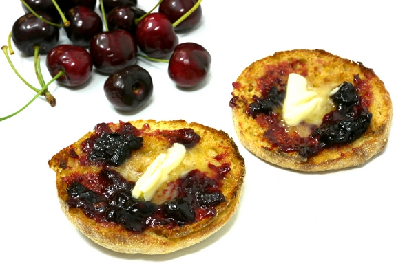 Sweet Cherry Jam with FreshTECH with butter and toast