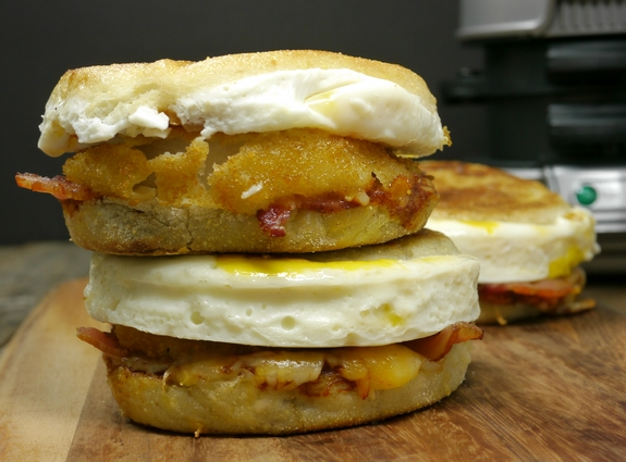 BBQ Bacon Onion Egg and Cheese Breakfast Sandwich ready in five minutes