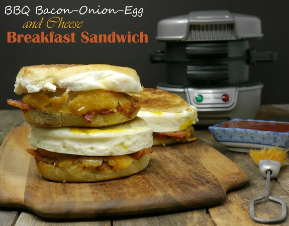 BBQ Bacon Onion Egg and Cheese Breakfast Sandwich