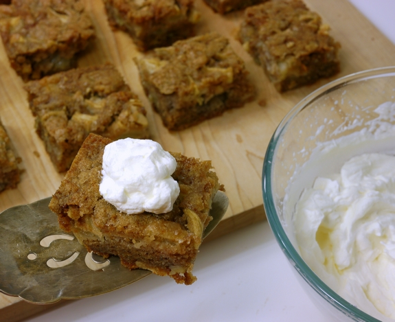 Chunky Apple Snack Cake with whipped cream