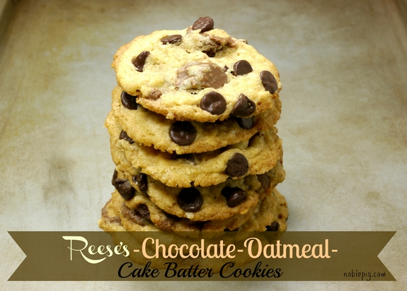 Reeses Chocolate Oatmeal Cake Batter Cookies 1