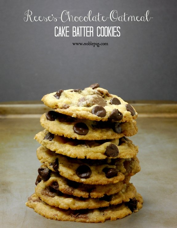 Reeses Chocolate Oatmeal Cake Batter Cookies 2