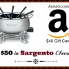 (Giveaway) Cuisinart Electric Fondue Pot, $50 in Sargento Cheese and a $40 Amazon Gift Card