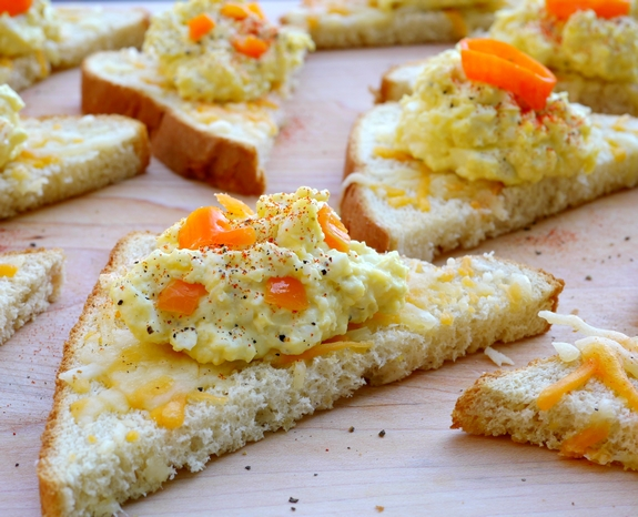 Pickled Habanero Deviled Egg Spread on Cheesy Toast chopped jalapeno