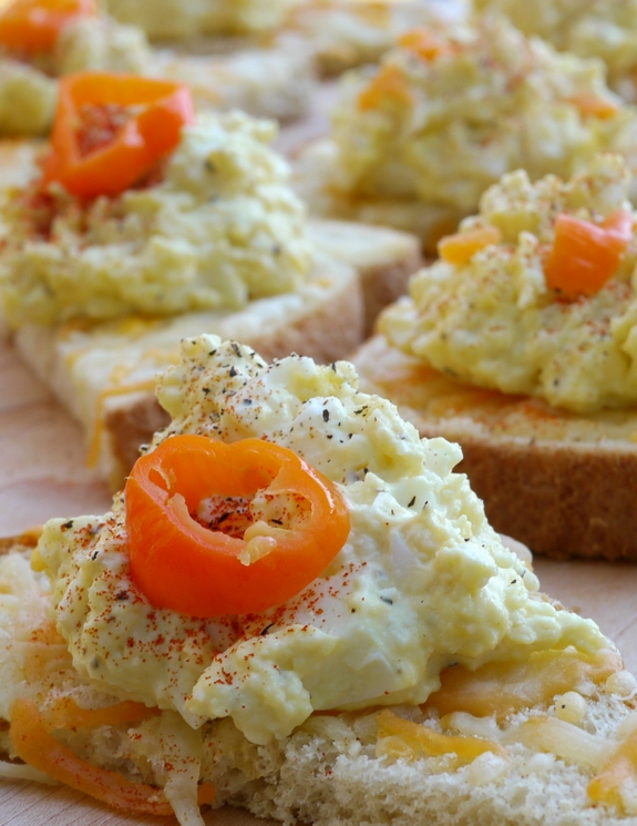 Pickled Habanero Deviled Egg Spread on Cheesy Toast perfect appetizer