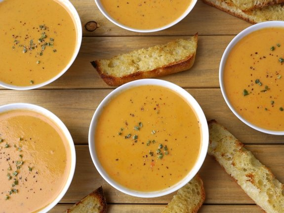 Creamy Red Pepper Coconut soup perfect for a rainy day