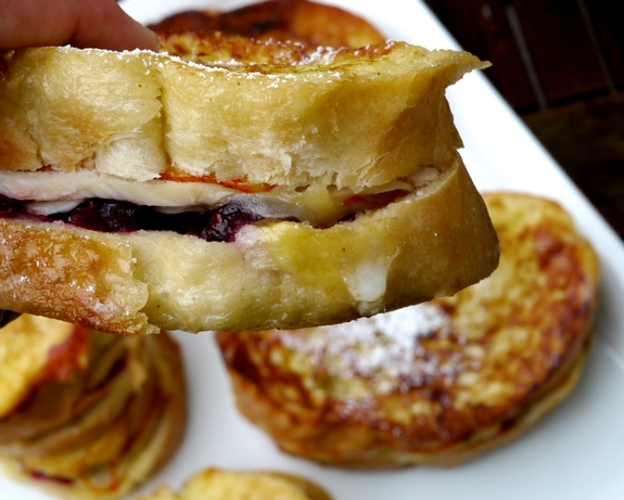 Leftover Turkey Cranberry Monte Cristo Sandwiches take a bite
