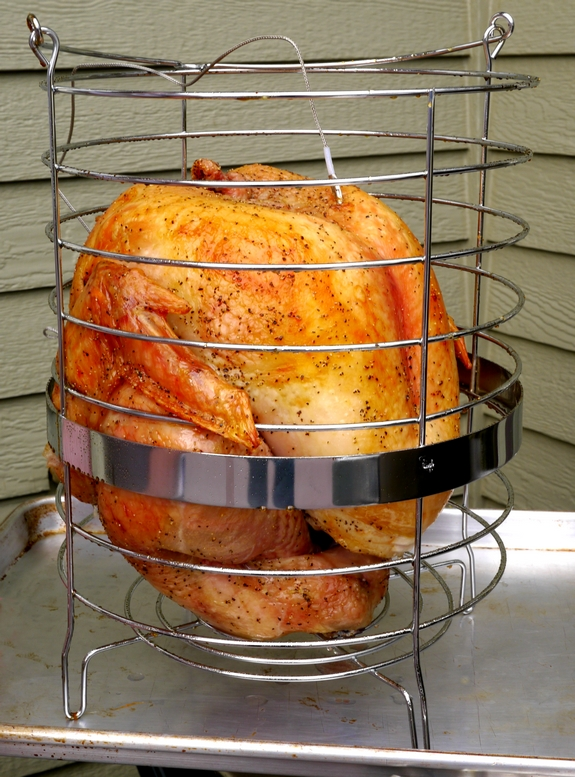 Salt and Pepper Turkey made in an electric roaster cooking basket