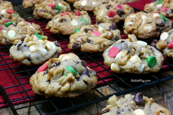 Festive Chocolate Cherry Chip Cookies from Noble Pig