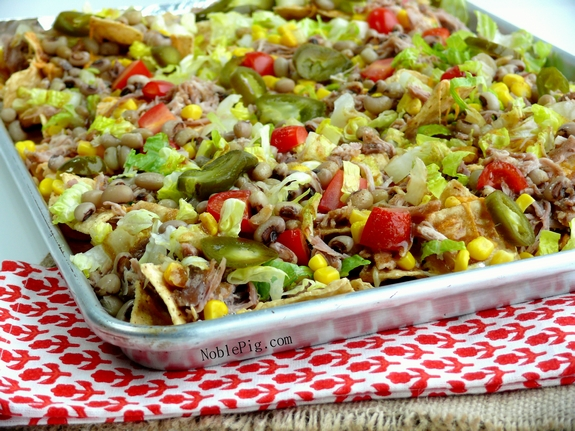 Lucky and Loaded Pulled Pork Black Eyed Peas Nachos