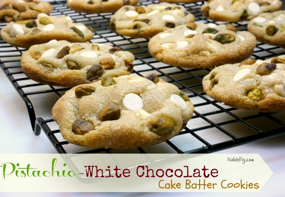 Pistachio White Chocolate Cake Batter Cookies with a special tip on how to make them lofty  From Noble Pig