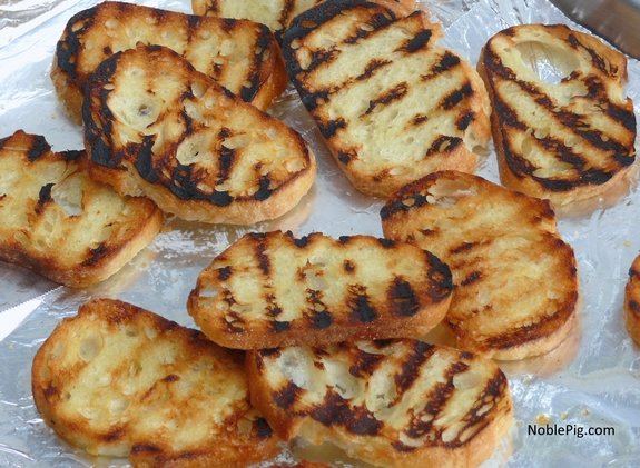 Smokey Cheese and Pancetta Crostini grilled bread