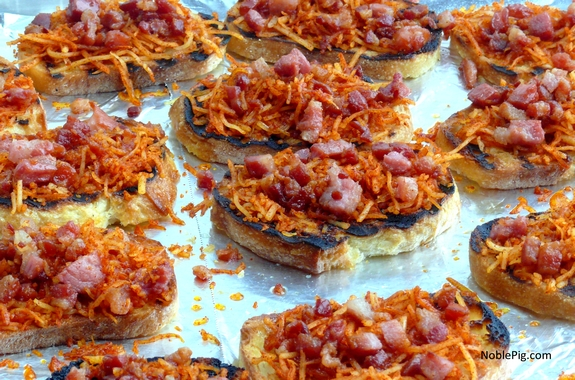 Smokey Cheese and Pancetta Crostini right before the oven