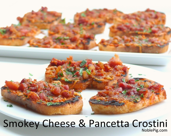 Smokey Cheese and Pancetta Crostini