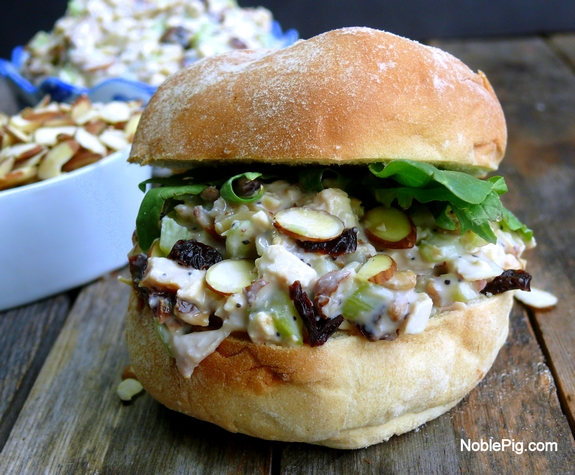 Noble Pig  Delicious Reduced Calorie Chicken Salad on a bun