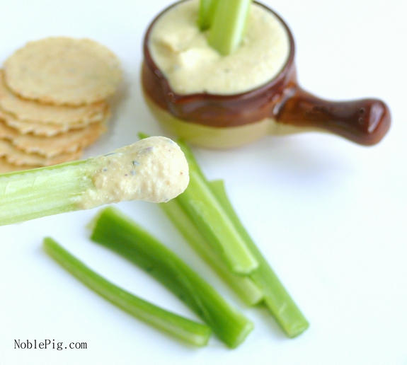 Noble Pigs Rosemary Garlic Low Calorie Dip with celery