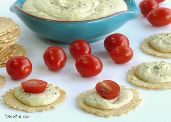 Noble Pigs Rosemary Garlic Low Calorie Dip with tomatoes