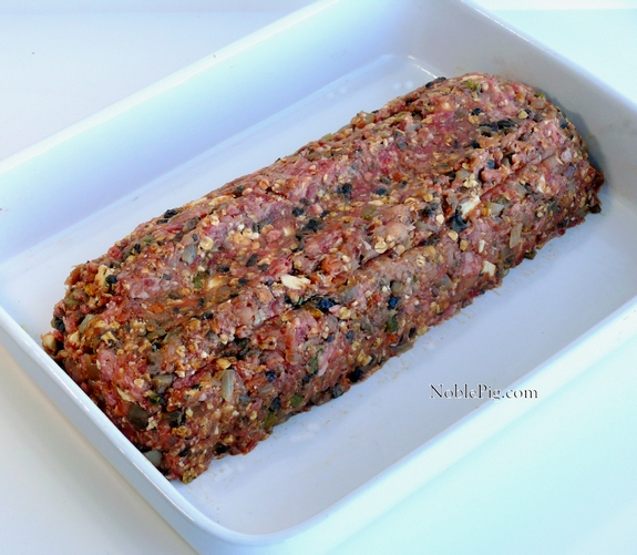 Noble Pigs Skinnier Meatloaf with Tangy Smokey Glaze before cooking