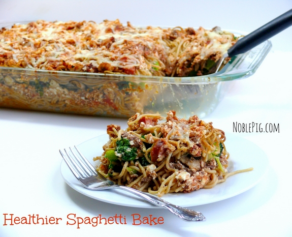 NoblePigs Healthier Spaghetti Bake low calorie