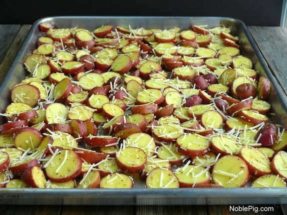 Cheesy Crushed Rosemary Potato Coins red potatoes ready for the oven