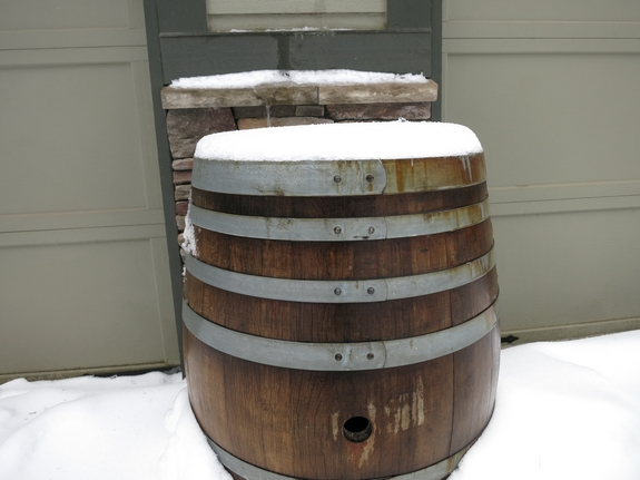 Noble Pig Wine Barrel in the Snow McMinnville Oregon