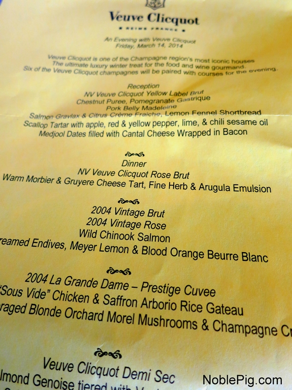 Noble Pig Veuve Clicquot Dinner at Bistro Maison
