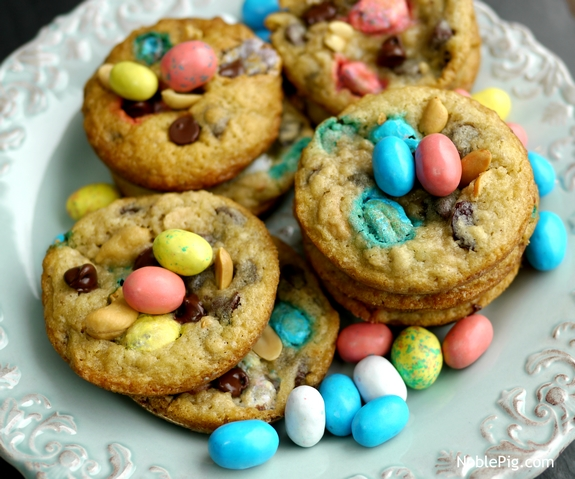 Noble Pig Easter Trail Mix Cookies a plateful