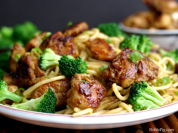 Noble Pig Sticky Asian Chicken Spaghetti perfect quick and easy dinner