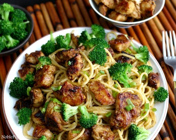 Noble Pig Sticky Asian Chicken Spaghetti