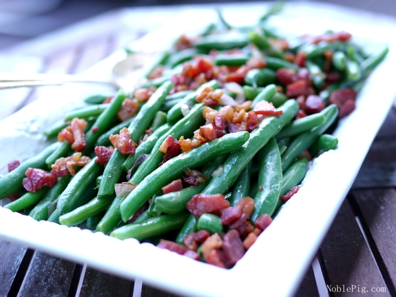 Fresh Green Beans with Bacon and Shallots from Noble Pig Oregon
