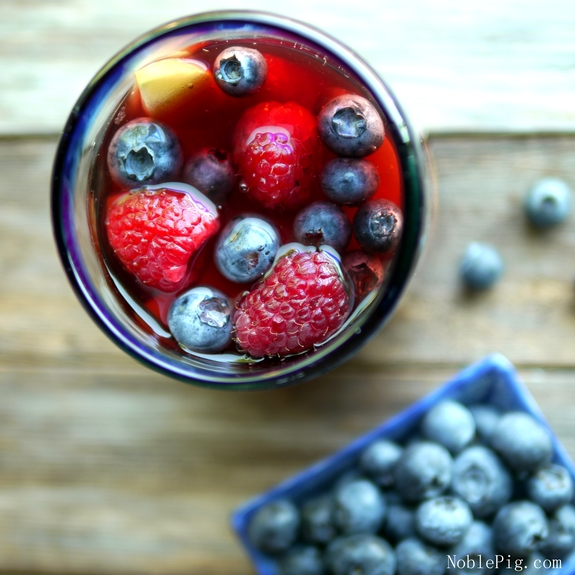 Red White and Blue Sangria from Noble Pig the glass