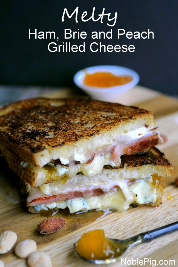 Melty Ham Brie and Peach Grilled Cheese from Noble Pig