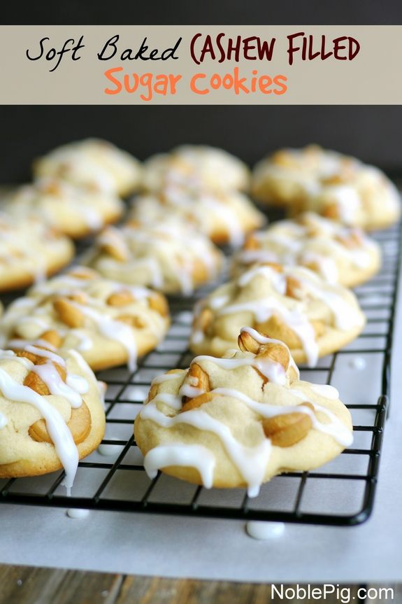 Soft Baked Cashew Filled Sugar Cookies from Noble Pig