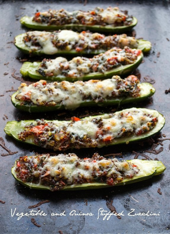 Vegetable and Quinoa Stuffed Zucchini text