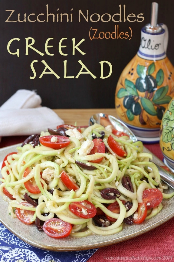 Zucchini Noodles Zoodles Greek Salad 1 title