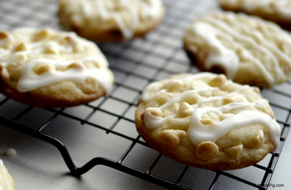 Lemon White Chocolate Soft Baked Cookies from Noble Pig side view