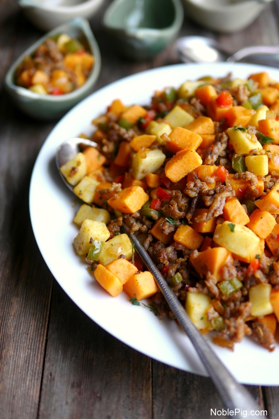 Sausage and Sweet Potato Hash from Noble Pig Food Blog