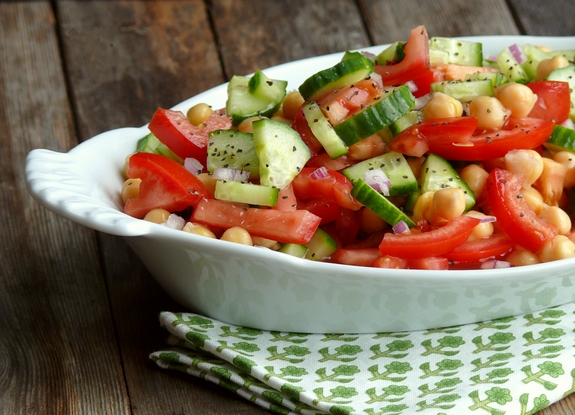 Cumcumber Tomato and Garbanzo Bean Salad