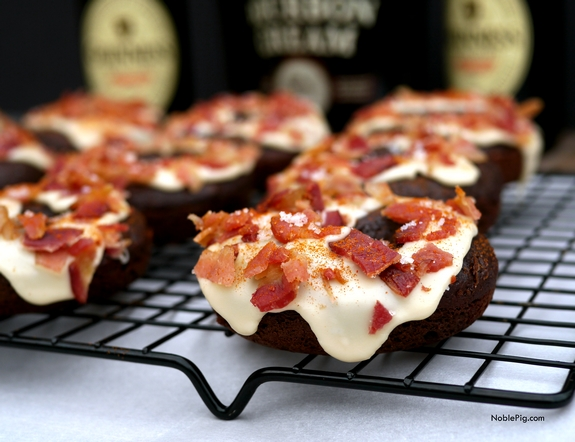 Chocolate Guinness Doughnuts with Bourbon Creme Glaze and Bacon 2