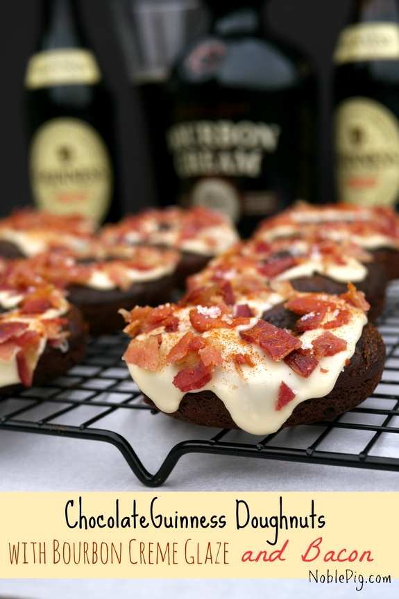Chocolate Guinness Doughnuts with Bourbon Creme Glaze and Bacon