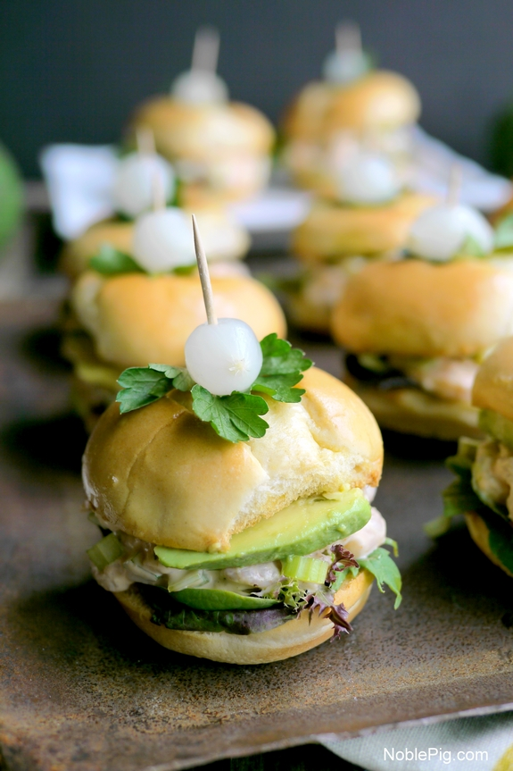 California Avocado and Bay Shrimp Sliders with Spicy Mayo