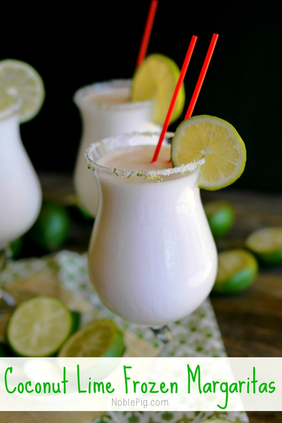Coconut Lime Frozen Margaritas | Noble Pig