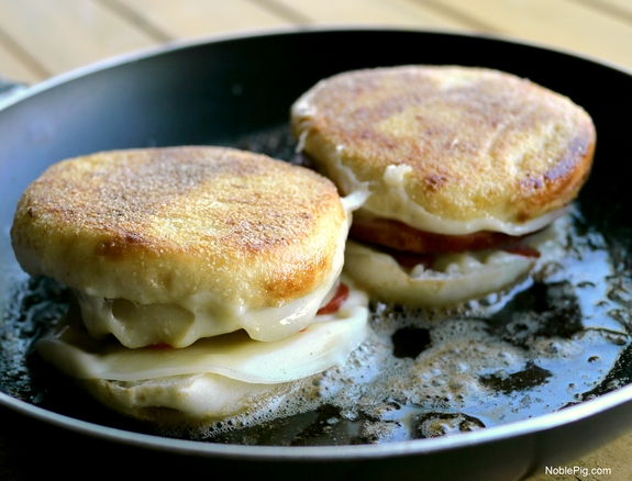 Hawaiian Pizza Grilled Cheese Sandwich English Muffins cooking