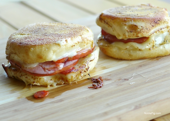 Hawaiian Pizza Grilled Cheese Sandwich English Muffins done