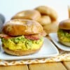 Cheesy Egg, Avocado and Bacon Breakfast Sandwich