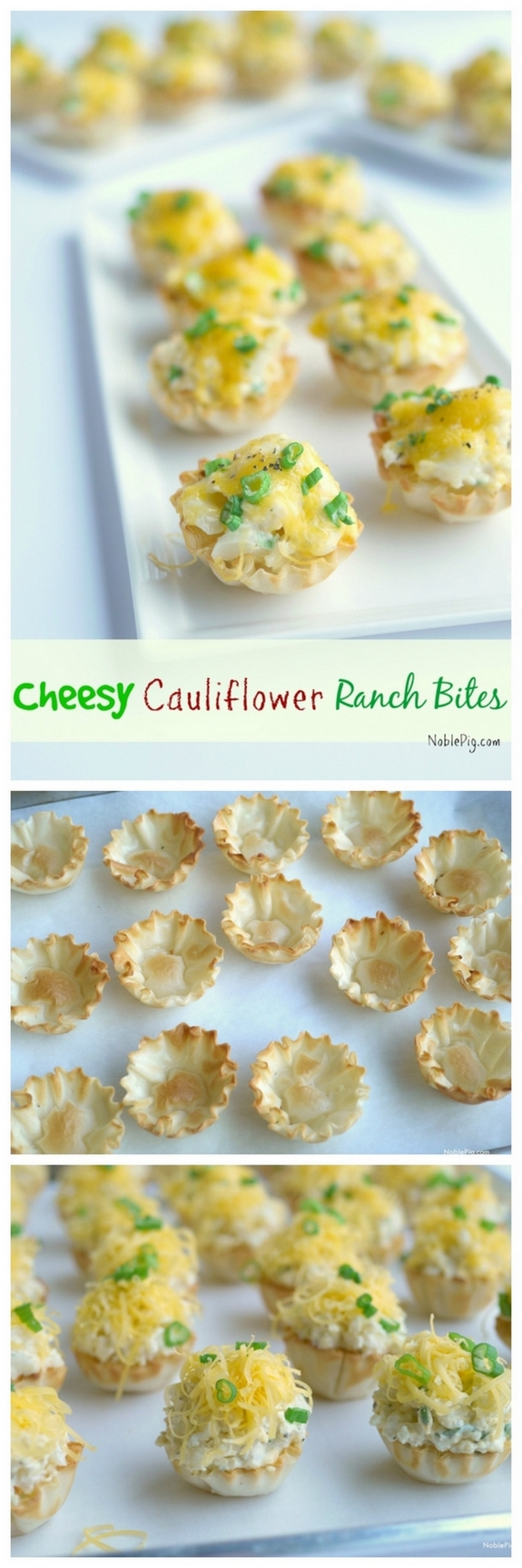 Cheesy Cauliflower Ranch Bites from Noble Pig Oregon Pinterest Collage
