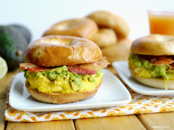 Cheesy Egg Avocado and Bacon Breakfast Sandwich  A perfect weekday or weekend treat and the perfect brunch sandwich too